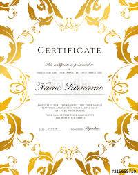 Achievement Certificate Certificate Template Gold Border Editable Design For Diploma