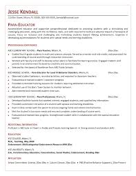 Resume For Paraeducator Resume Cover Letter