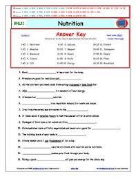bill nye nutrition worksheet answer sheet and two quizzes teacherspayteachers