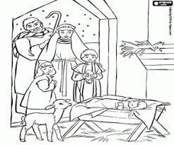 Kleurplaat De Heilige Familie En De Herders Kleurplaten