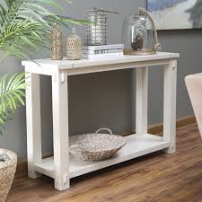 white furniture design. Craftsman Console Table Rectangle White Stained Wooden With Lower Shelf Adorable Furniture Design For Vintage Home Decor On Hayneedle Sale Collection