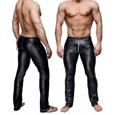 fashion mens black pu leather pants long trousers y and novelty skinny muscle tights mens leggings slim fit tight
