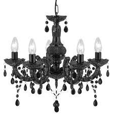 lighting home chandeliers marie therese black 5 light chandelier with acrylic glass drops