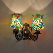 Multicolor Wall Light 2 Arm Lighting Wall Sconces Multicolor Mosaic Lampshade 2