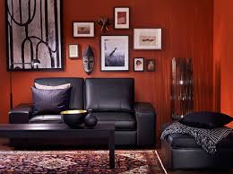 Two Seater Sofa Living Room Kivik Two Seat Sofa And Footstool With Grann Black Leather And
