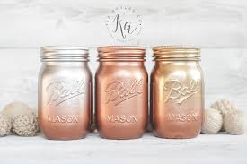metallic ombre painted mason jars gold copper silver