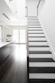 dark stained stair treads with white risers (vs.