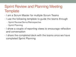 Scrum Meeting Template Sprint Review And Planning Template