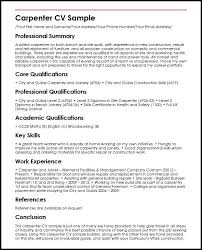 Curriculum Vitae Examples Simple Carpenter CV Sample MyperfectCV