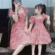 VÁY ĐÔI MẸ VÀ BÉ 💟FREESHIP💟 Set Combo Váy Thời Trang Cho Mẹ Và Bé Gái Cực  Xinh CHẤT BAO ĐẸP