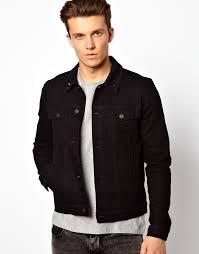 black denim jackets asos denim jacket in skinny fit with studded collar