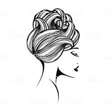 洗練された髪型お団子とエレガントなメイク美人髪と美容室ベクトル