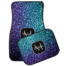 Plain Cute Car Floor Mats Blue Ombre Glitter Sparkles Monogram Mat For Inspiration Decorating