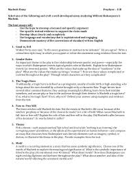 macbeth essay questions co macbeth essay