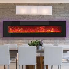 amantii advanced series 76 inch wall mount built in electric fireplace black glass wm bi 76 gas log guys