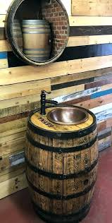 personalized whiskey barrel copper sink vanity with waterfall sinks bathroom whisky