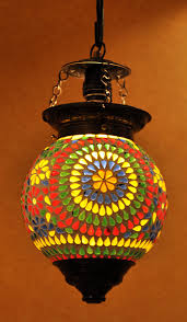 Handmade Indian Decorative Multi Color Ceiling Glass Lamp Shade