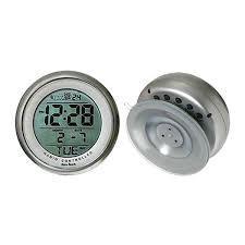silver atomic bathroom digital alarm clock with suction cup