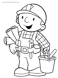 Bob The Builder Color Page Coloring Pages For Kids Cartoon