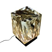 Arditi Collection Epoxy Resin Wood Rustic Sticky Cube Lamp