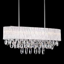 """Pendant Light in Oval Ribbed Glass Tube Shade, (32"""" inches ..."""