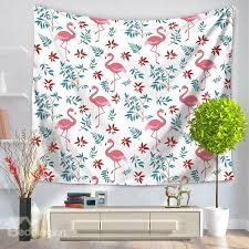 flamingos and small tropical plants foliage pattern decorative hanging wall tapestry