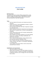 Fancy File Clerk Job Description Resume Vignette - Example Resume ...