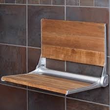 Image of: Teak Shower Stool Wall