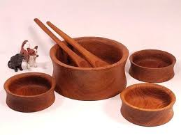 teak wood bowls vintage teak wood salad bowl set 6 pieces hand carved with regard to teak wood bowls