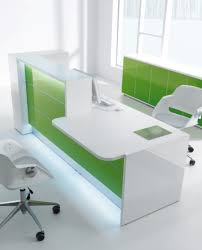office reception counter. Valde Modern White Reception Counter With Green Laminate And LED Lighting Office