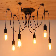Us 3249 33 Offmordern Nordic Retro Edison Bulb Light Chandelier Vintage Loft Antique Adjustable Diy E27 Art Spider Ceiling Lamp Fixture Light In