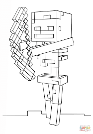 Small Picture Minecraft Skeleton with Bow coloring page Free Printable