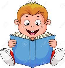 cartoon boy reading a book stock vector 18599369