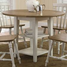 image of round drop leaf dining table set