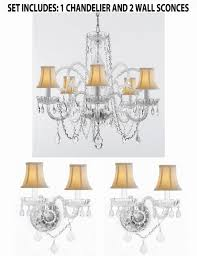 3pc lighting set crystal chandelier and 2 wall sconces with white shades