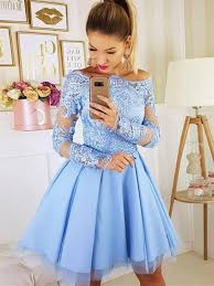 Short Formal Light Blue Dress Long Sleeves Light Blue Short Lace Prom Dresses Short Blue Lace Formal Homecoming Dresses