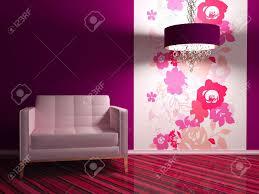 Modern Wallpaper For Living Room Bright Interior Design Of Modern Living Room With Big Pink