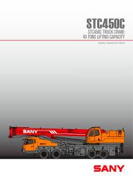14 Ton Hydra Load Chart Stc450 45ton Truck Crane Sany Pdf Catalogs Technical