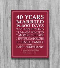 40th wedding anniversary gifts for husband 4oth anniversary gift ruby personalized art custom love story stats
