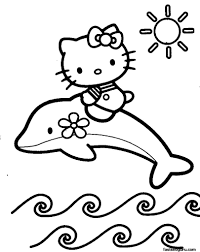 free coloring pages to print out. Interesting Out Print Out Coloring Pages Of Dolphin With Hello Kitty  And Free To N