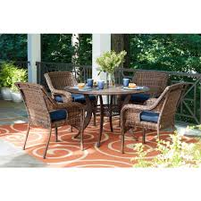 hampton bay cambridge brown 5 piece wicker outdoor dining set with blue cushions