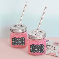 chalkboard baby shower personalized mason jar drinking glasses with flower cut lids