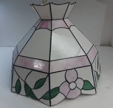 vintage slag stained glass pink green ceiling chandelier swag light lamp shade