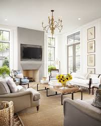 country modern furniture. Living Room, Modern French Chic Room With Gray Stone Fireplace Flat Screen Over Country Furniture