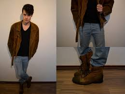 today i m wearing my vintage brown suede leather jacket bought this one in my hometown gouda in a thrift combined with a basic v neck t shirt and a