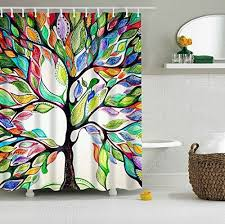 dotz tree of life shower curtain with white plastic c rings lightweight mold