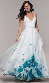 Long Ivory Organza Ball Gown with Floral Print