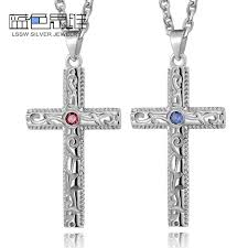 blue sweet couple necklaces cross necklaces for women and men sterling silver vintage cross