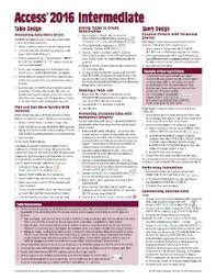 access cheat sheet access 2016 intermediate quick reference cheat sheet guide card