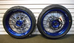 complete supermoto 17 wheels with tires wr250r blue hubs with